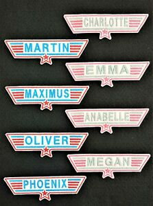 Personalised Embroidered Top gun Style Name Patch Badge Iron on or sew