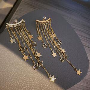 Women Rear Hanging Earrings Crystal Long Statement Tassel Star Drop Earrings`