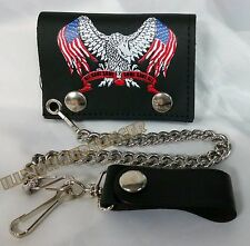 """Wallet & Chain 4"""" Leather Trifold All Gave Some Gave All Biker Motorcycle (17)"""