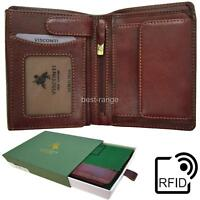 Visconti RFID Trifold Wallet with Coin Pocket  Real Leather Tan New in Gift Box
