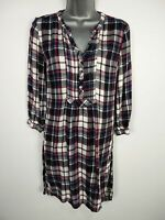 WOMENS FAT FACE UK 6 NAVY MIX CHECK 3/4 SLEEVE FITTED SHORT CASUAL SHIRT DRESS