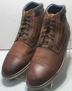 593046 PFBT50 Men Shoes Size 9.5 M Brown Leather Lace Up Boots Johnston & Murphy