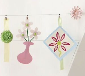 *NEW* Pottery Barn Kids Pink Flower Art Cable System ArtWork Display Kid's Room