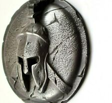 Spartan ancient greek helmet and shield sculpture wall art rustic home decor