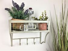 Industrial vintage chic Kitchen spice storage rack wall shelf hooks 30cm