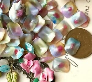 Vintage French Cabochons, Octagon Glass Cabochons, Rainbow, made in France, 765C