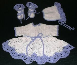 PINEAPPLE BABY DRESS SET HAND CROCHET  PINK & LILAC NEWBORN TO 3 MONTH SIZE
