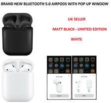 Schwarz matt airpods mit Logo Siri aktiviert Drahtlose Bluetooth + Lade Case