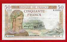 (K 131B) 50 FRANCS CÉRÈS 4/04/1940  (TTB+) DATE RARE