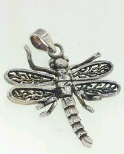 Movable 3D Dragonfly  Charm Pendant -  Sterling Silver 925