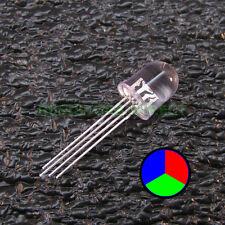 10pcs Round 10mm RGB LED Clear Lens Common Anode Ham Radio USA Seller 10x Z09