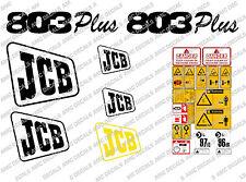 JCB 803 Plus/Super Mini Escavatrice Completo Decalcomania Impostato Con Cartelli Di Avvertimento