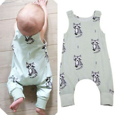 UK Toddler Baby Boy Girl Cartoon Romper Bodysuit Jumpsuit Outfits Clothes Set
