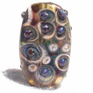JOCKO Handmade Art Glass Focal Bead Flaming Fools Lampwork Art Glass SRA