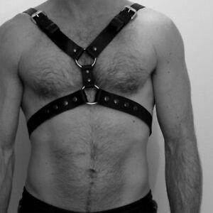 Leather Men Chest Harness Body Bondage Suspenders Garter Belt Night Club Cosplay