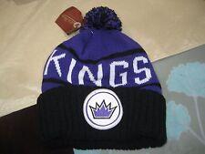 MENS SACRAMENTO KINGS Mitchell & Ness Winter BEANIE HAT BLACK/PURPLE  NWT