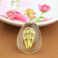 1 pcs New 999 24K Yellow Gold Pendant Man-made Crystal Leaf Pendant