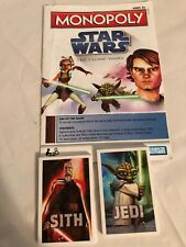 Monopoly Star Wars Clone Wars Board Game Replacement  Sith Jedi Cards + Manual