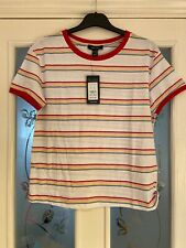 Ladies Clothes Size 12 New Look White Striped Tshirt Top New (378)