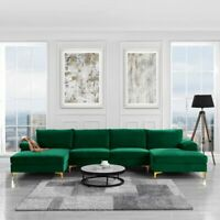 Modern Large Velvet Fabric Sectional Sofa Couch Extra Wide Chaise U Shaped Green