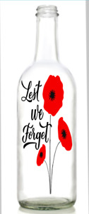 Vinyl Decal Sticker wine bottle  Lest we forget poppies remeberance