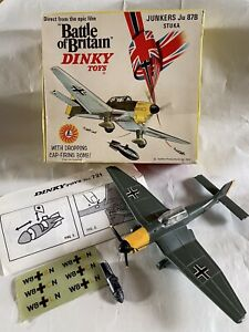VINTAGE DIECAST DINKY TOYS JUNKERS JU-87 STUKA WW2 FIGHTER DIVE BOMBER PLANE BOX