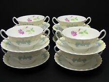 Royal Doulton PICARDY Cream Soup Bowls and Saucers H4855 / Set of 8