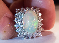 Solid SS 925 BEST Multi-color Neon Opal and Diamond Cut) White Sapphire Ring