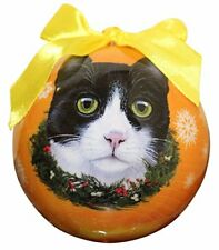 Black and White Cat Christmas Ornament Shatter Proof Ball Easy To Personalize