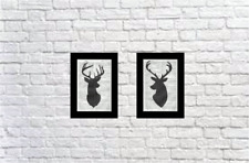 2 -Stag Head Prints Vintage Dictionary Page Wall Art Pictures Deer Upcycled RARE