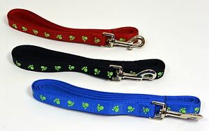 "NEW Saf-T-Paw 6' Long Dog Nylon Paw Printed Leash Lead Small 5/8"" W"