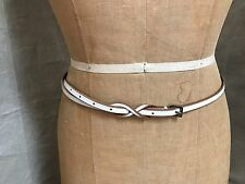 Linea Pelle WHITE LEATHER SKINNY BELT Hand Made ANTHROPOLOGIE M Medium Delicate