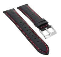 Lotus Watches Navona Ersatzband 23mm schwarz Leder mit roter Naht 15387 15387/H