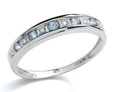 9CT WHITE GOLD AQUA BLUE TOPAZ & DIAMOND ETERNITY RING - ALL SIZES - NEW
