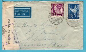 NETHERLANDS EAST INDIES air cover 1940 Soerabaja to Rotterdam -Singapore censor