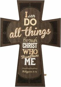 """I Can Do All Things Phil. 4:13 Decorative Mounted Plaque Wall Cross - 8"""" x 6"""""""