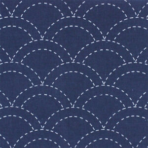 Sashiko Fabric printed with water soluble pattern 31 x 31cm piece, white or navy