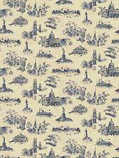 American Landmarks Wallpaper in Blue on Cream  682733