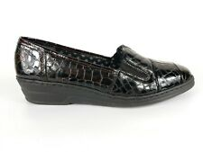 Rieker Brown Patent Leather Reptile Print Slip On Shoes Uk 6.5