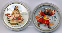 China 2002 Chinese Mythical Folktale Coloured Silver Coin 2x1 OZ 10 Yuan 2nd Set