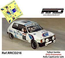 DECAL/CALCA 1/43; Talbot Samba; Ortiz-Presmanes; Rally Cajalicante 1986