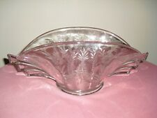 "DUNCAN MILLER Etched 14"" Flared Oval ART DECO Winged Bowl - Wings"