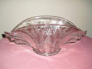 """DUNCAN MILLER Etched 14"""" Flared Oval ART DECO Winged Bowl - Wings"""