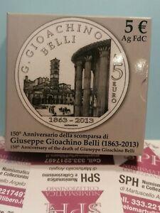 MONETA 5 EURO Commemorativa Argento 2013 Gioacchino Belli COFANETTO SPH #59