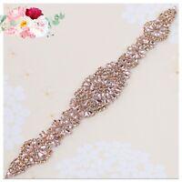 Bridal Wedding Rose Gold Rhinestone Crystal Encrusted Sash Dress Ivory Belt