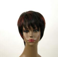 perruque femme afro 100% cheveux naturel courte méchée noir/rouge JEAN 01/1b410