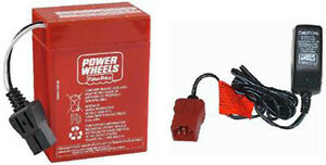 00801-0712 6 Volt Red Battery & Charger Combo Power Wheels 6V Fisher Price
