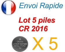 LOT DE 5 PILES CR2016 3V NEUVES 2016  LONGUE DUREE