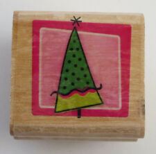 Fun TREE Rubber Stamp DIY Christmas Cards Crafts Star on Top Wood Mounted