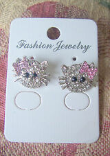 HELLO KITTY Style Crystal Rhinestone Stud Silver Tone Earrings Pink Bow NEW